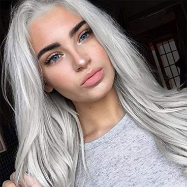 Silver Platinum Blonde Lace Front Wigs for Women 24 Inch