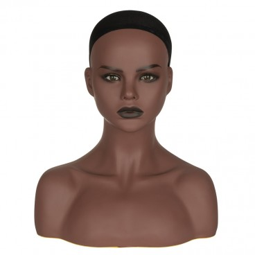 PVC Realistic Mannequin Head Bust Wig Head Stand for Wigs Display Making Styling With Real Eyeball