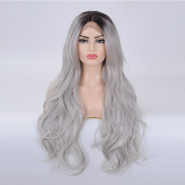 Ombre Gray Wavy Lace Front Wigs for Women 26 Inch