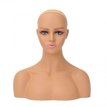 PVC Realistic Mannequin Head Bust Wig Head Stand for Wigs Display