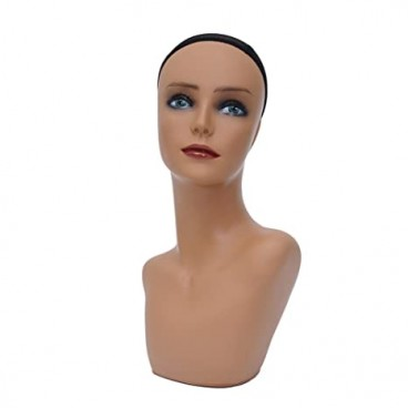 Tan Color Female PVC Mannequin Head Model for Displaying Wigs, Jewelries