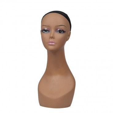 Tan Female Realistic Plastic Silicone Mannequin Head for Wig Display Styling Making