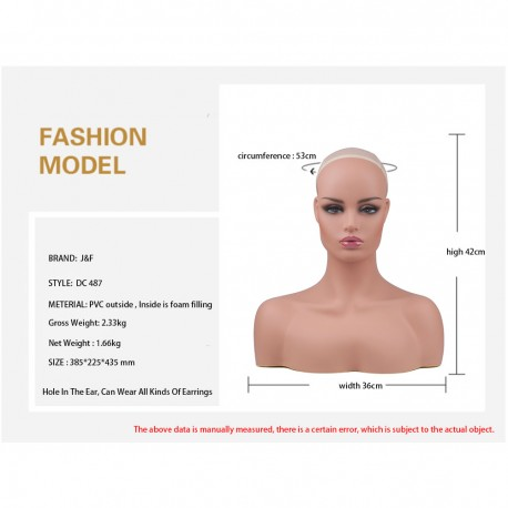 PVC Manikin Head Realistic Mannequin Head Bust Wig Head Stand for Wigs Display Making Styling